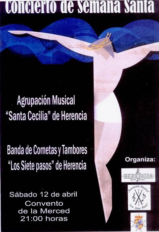 Cartel del concierto de la agrupación muscial Santa Cecilia de Herencia