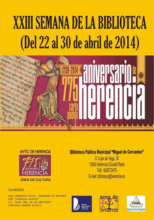 herencia caratula xxiii semana biblioteca - La 23ª Semana de la Biblioteca de Herencia tendrá el 775 Aniversario de la Carta Puebla como principal temática