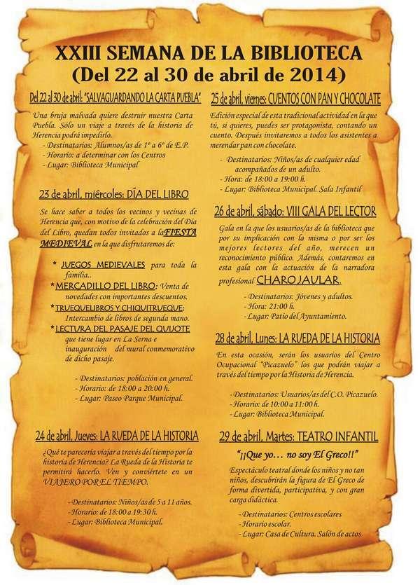 programa xxiii semana de la biblioteca 2014 red - La 23ª Semana de la Biblioteca de Herencia tendrá el 775 Aniversario de la Carta Puebla como principal temática