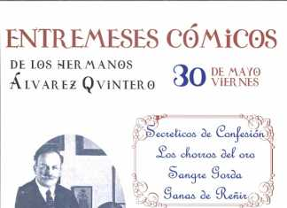 Cartel de teatro Entremese Cómicos de los hermanos Álvarez Quintero en Herencia