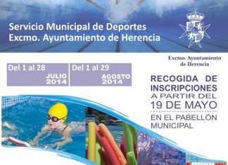 Cartel cursillos natación de verano - Herencia 2014
