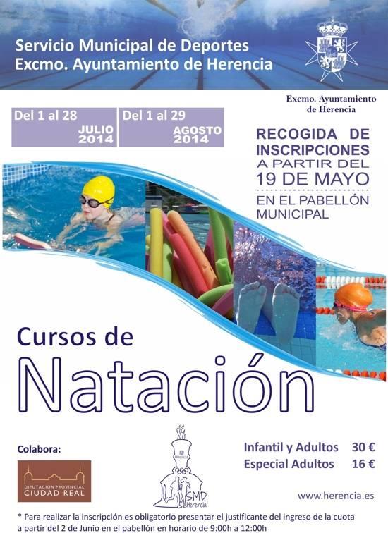Cartel natacion 2014 g - El 19 de mayo se abre el plazo de inscripción para los cursillos de natación