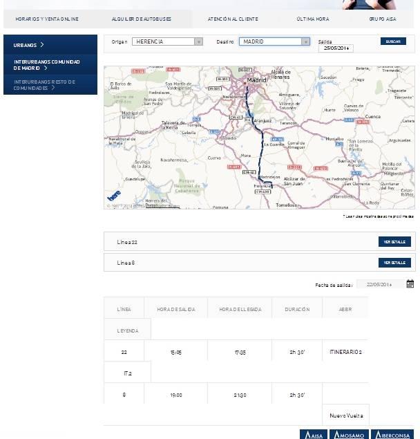 Horarios de autobuses de Herencia a Madrid los domingos según la web de la empresa AISA