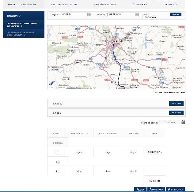Horarios de autobuses de Madrid a Herencia los domingos según la web de la empresa AISA