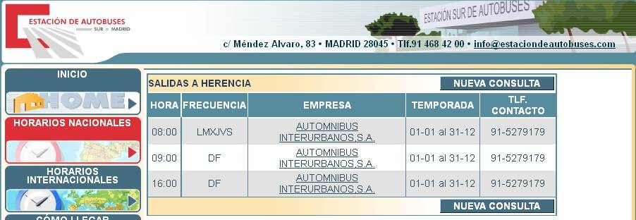 Horarios de autobuses de Madrid a Herencia según la web de la Estación Sur de Madrid