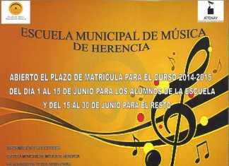cartel anunciador de la apertura de la matrícula en la escuela de música de Herencia
