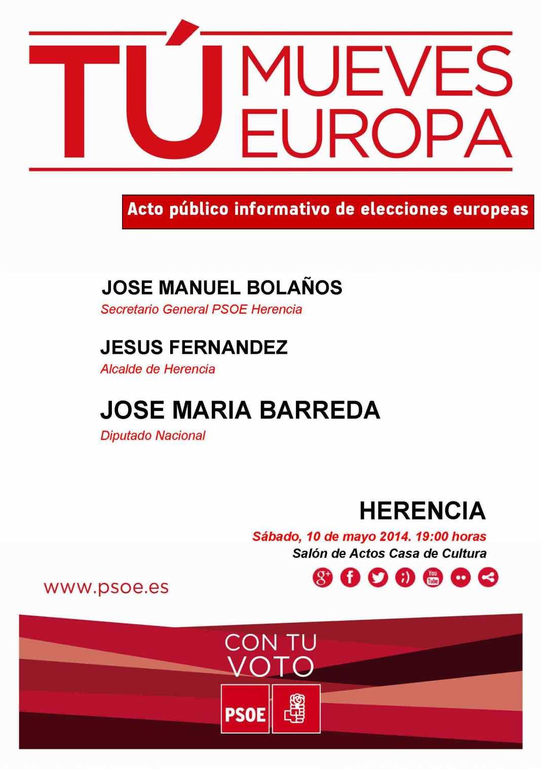 cartel mitin herencia dia 10 de mayo 1068x1520 - El reparto de un folleto informativo y la celebración de un acto público marcan el comienzo de la agrupación socialista en las elecciones europeas