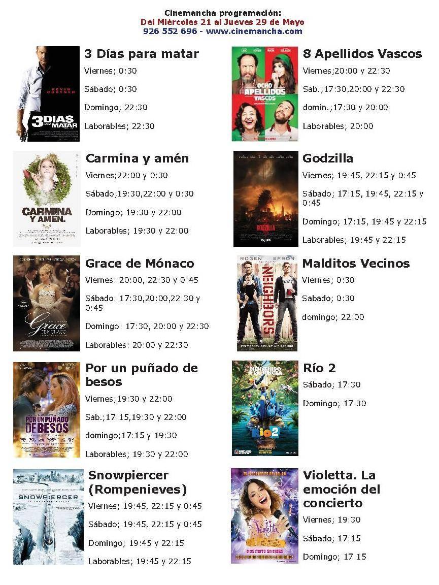 Cartelera Cinemancha miércoles 21 al jueves 29 de mayo 1