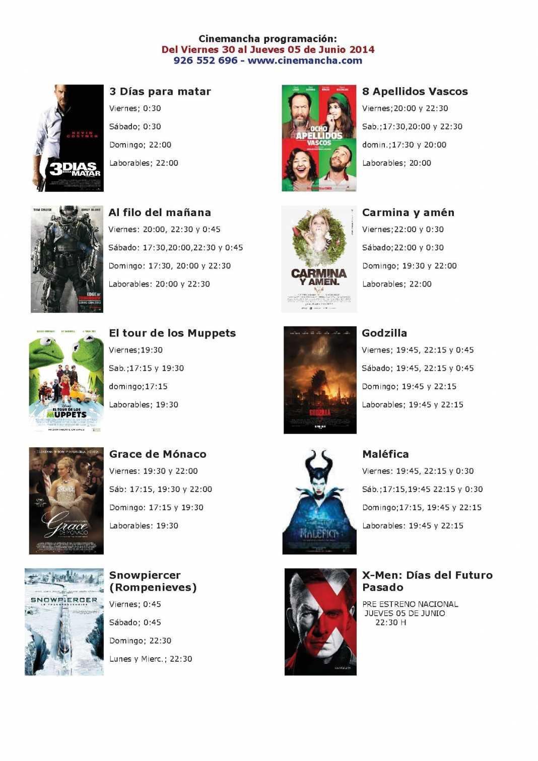 Cartelera de Cinemancha del viernes 30 mayo al jueves 05 de junio 1