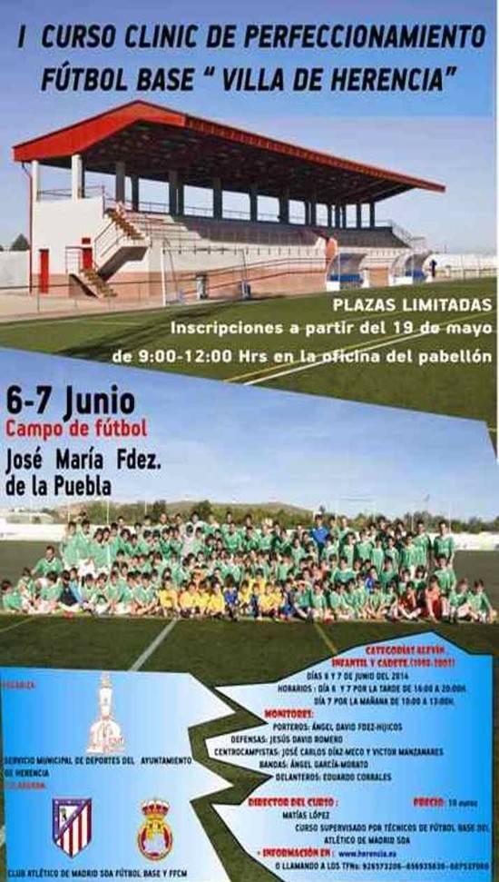 Cartel clinic fútbol base en Herencia