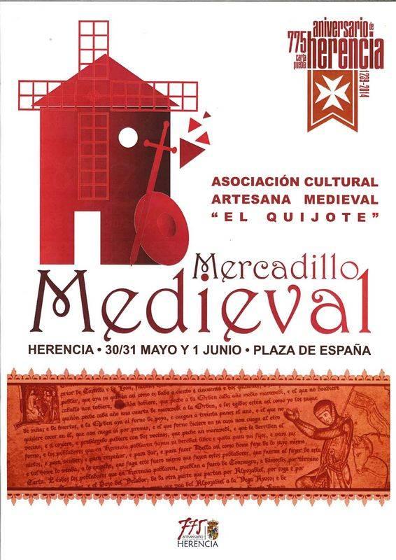 herencia cartel mercdillo medieval - Mercadillo Medieval y unas importantes Jornadas de Historia, nuevas actividades para mayo y junio del 775 Aniversario de la Carta Puebla de Herencia