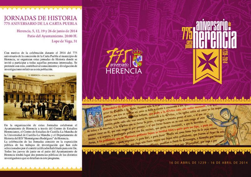 programa herencia jornadas mayo junio pagina 1 - Mercadillo Medieval y unas importantes Jornadas de Historia, nuevas actividades para mayo y junio del 775 Aniversario de la Carta Puebla de Herencia