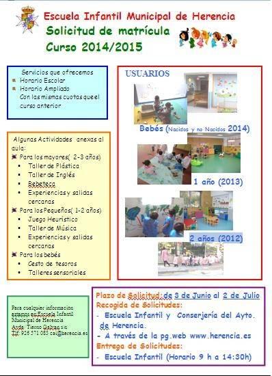 Cartel matrícula Escuela Infantil de Herencia - Abierto el plazo de matriculación para la Escuela Infantil de Herencia