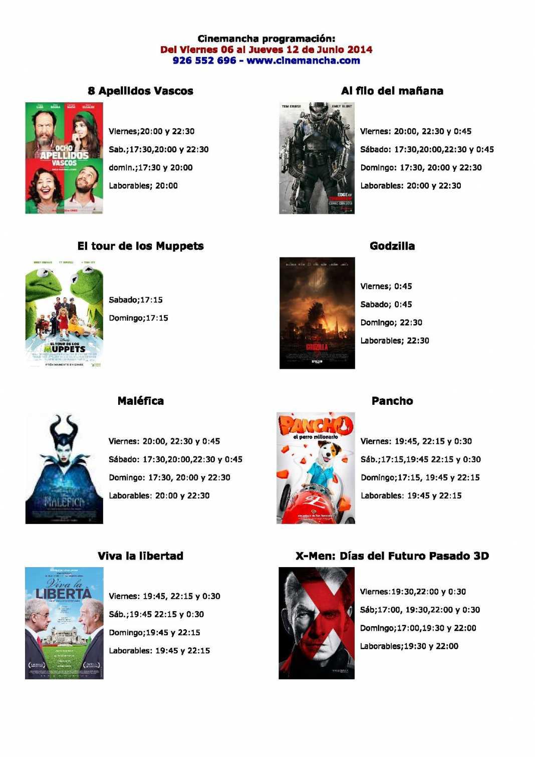 Cinemancha programación: Del Viernes 06 al Jueves 12 de Junio 2014 1