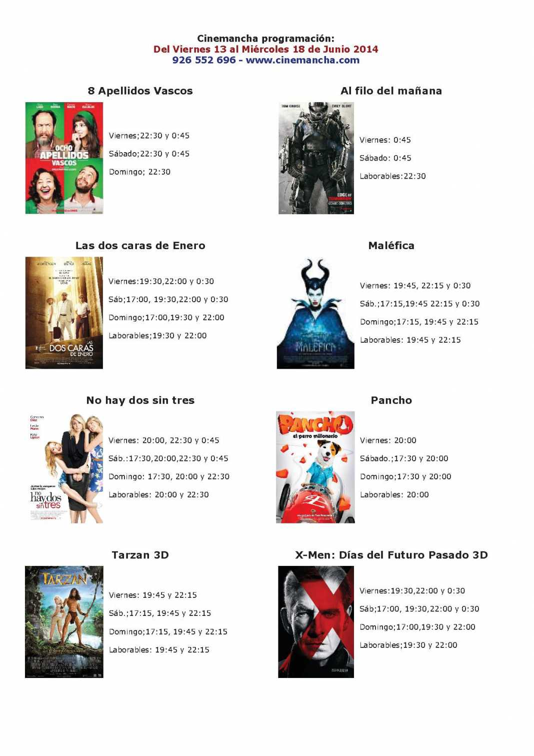 Cinemancha programación: Del Viernes 13 al Miércoles 18 de Junio 2014 1