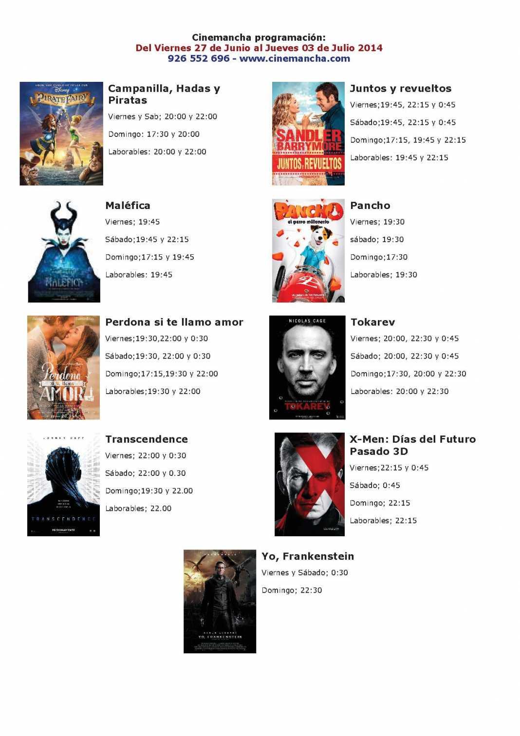 cartelera del 27 de junio al 03 de julio 1068x1511 - Cinemancha programación: Del Viernes 27 de Junio al Jueves 03 de Julio 2014