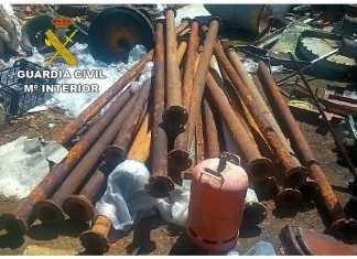 Imagen de los tubos de riego recuperados