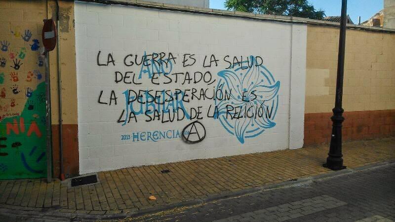 pintadas sobre el símbolo jubilar de Herencia - ¿Dónde quedaron los derechos fundamentales?