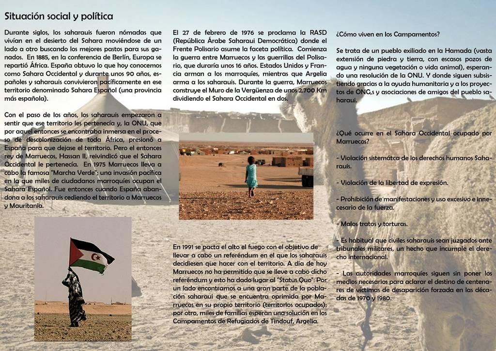 triptico situaci%C3%B3n actual pueblo saharaui - El gimnasio The Game participa en los maratones solidarios por el Sahara