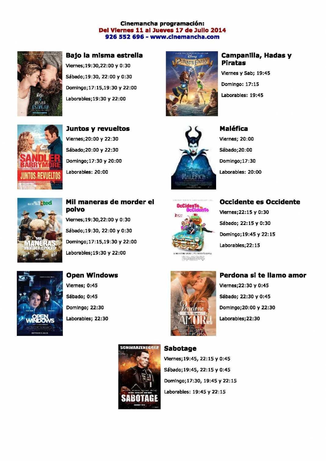 Cinemancha programación: Del Viernes 11 al Jueves 17 de Julio 2014 1
