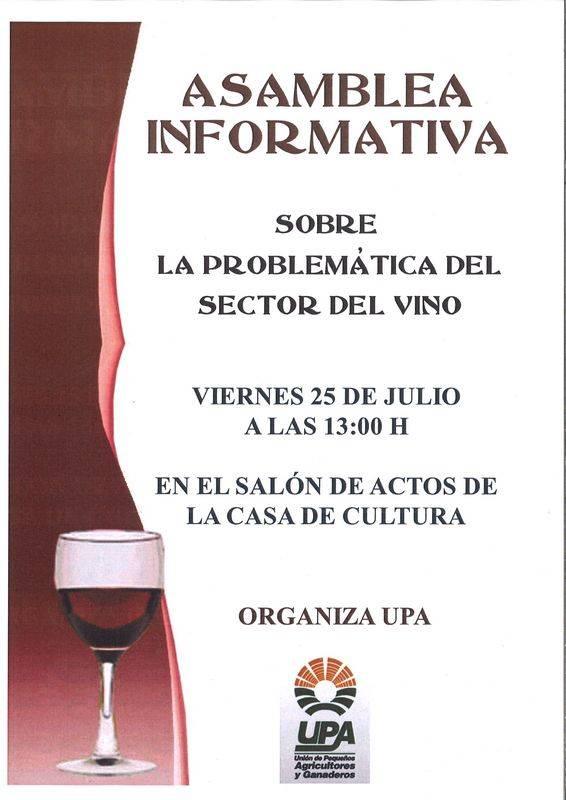 Cartel charla informativa problemática sector del vino