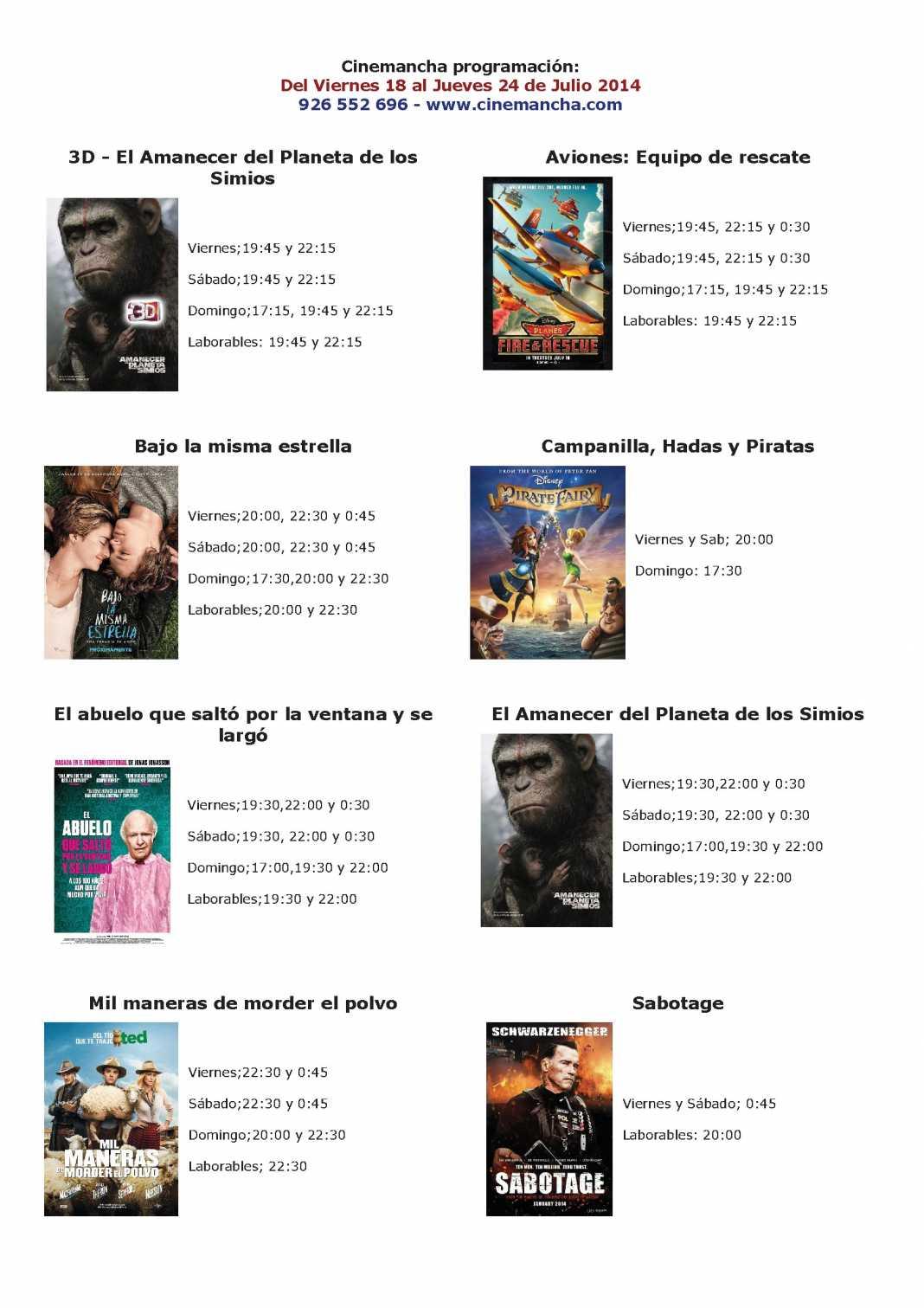 Cartelera de Cinemancha del 18 al 24 de julio 1