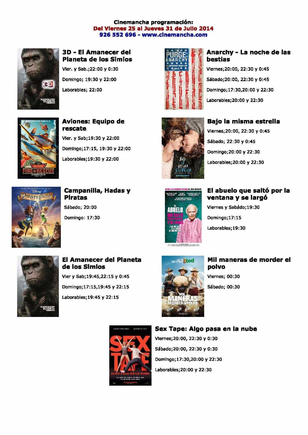 Cinemancha programación: Del Viernes 25 al Jueves 31 de Julio 2014 1