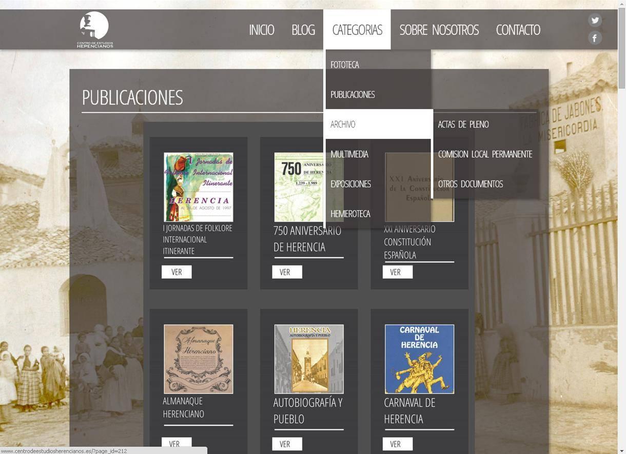 herencia web ceh pantallazo 2 - Presentado el nuevo portal del Centro de Estudios Herencianos