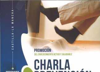 Cartel charla en Herencia sobre la prevención caidas en personas mayores