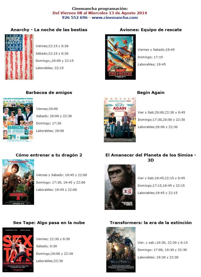 cartelera cine 8 a 13 agosto 2104 - Cartelera de Cinemancha del 08 al 13 de agosto 2014