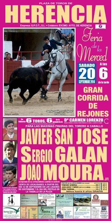 Cartel Corrida de Rejones de Herencia - Presentación de la corrida de rejones de Herencia