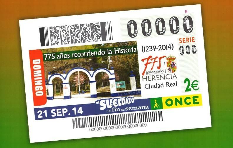 Herencia en el cupon el sueldazo del fin de semana de la ONCE - El 775 aniversario de Herencia protagoniza un cupón de la ONCE