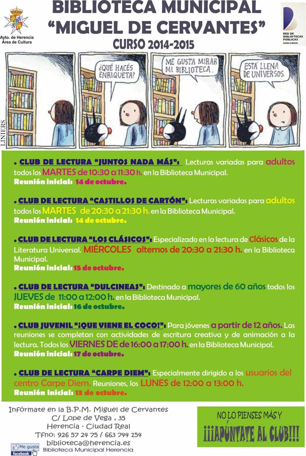 biblioteca municipal miguel de cervantes curso 2014 2105 1068x1590 - Arrancan los Club de Lectura, de la Biblioteca Municipal de Herencia