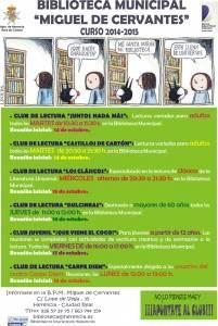 biblioteca municipal miguel de cervantes curso 2014 2105 201x300 - Arrancan los Club de Lectura, de la Biblioteca Municipal de Herencia