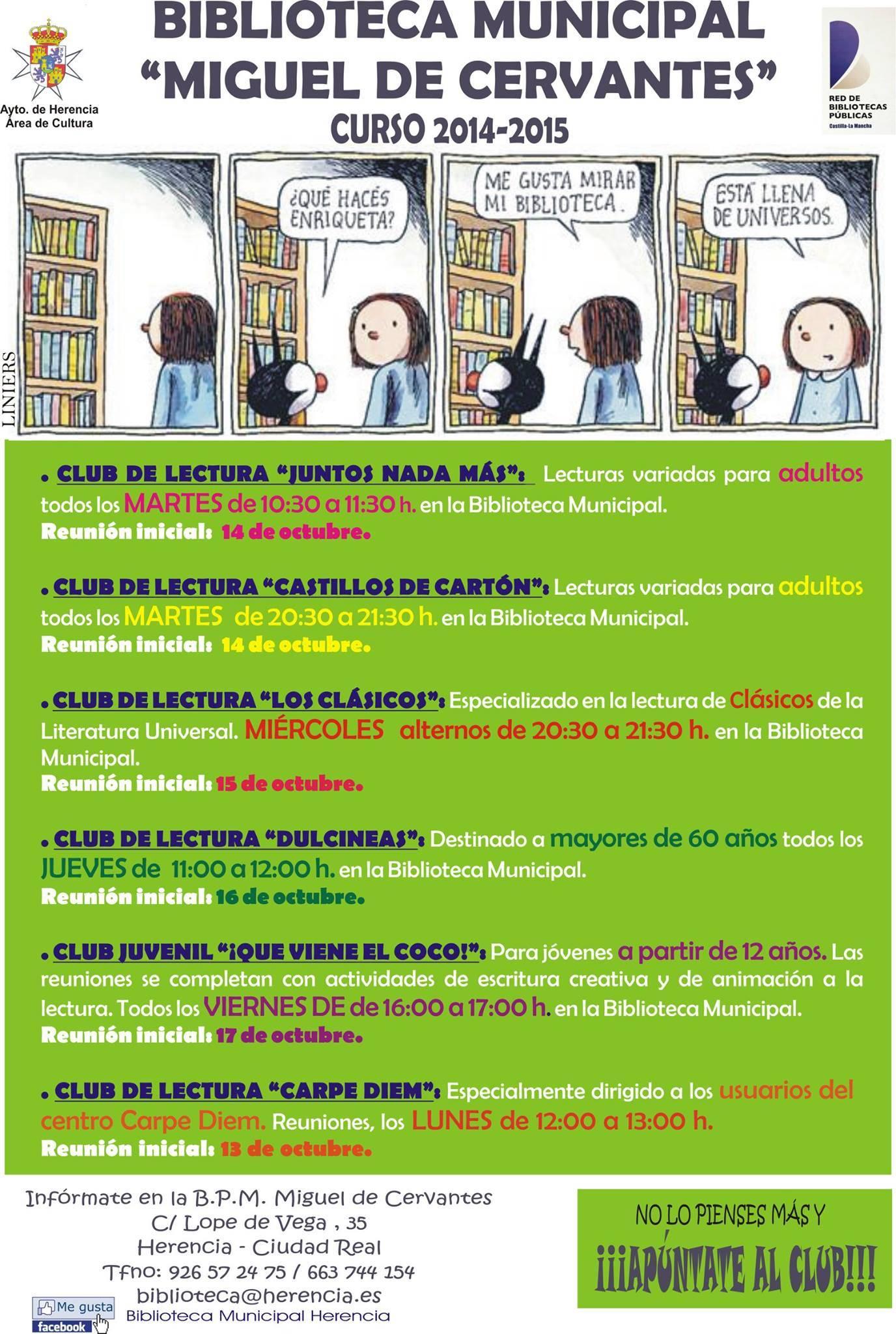 biblioteca municipal miguel de cervantes curso 2014 2105 - Abierto el curso 2014-2015 en la Biblioteca Municipal