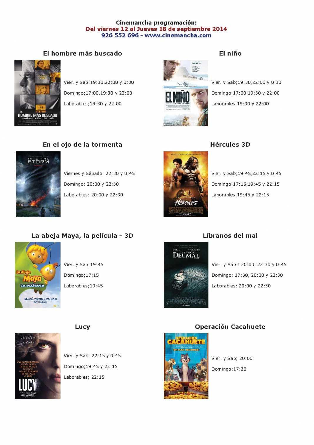 Cartelera de Cinemancha del 12 al 18 de septiembre  1