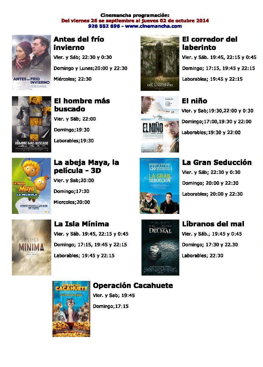 cartelera de cinemancha del 16 09 al 02 10 - Cartelera de Cinemancha del 16-09 al 02-10