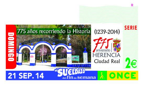 once CUPON DE HERENCIA g - El 775 Aniversario de Herencia, en cinco millones y medio de cupones de la ONCE