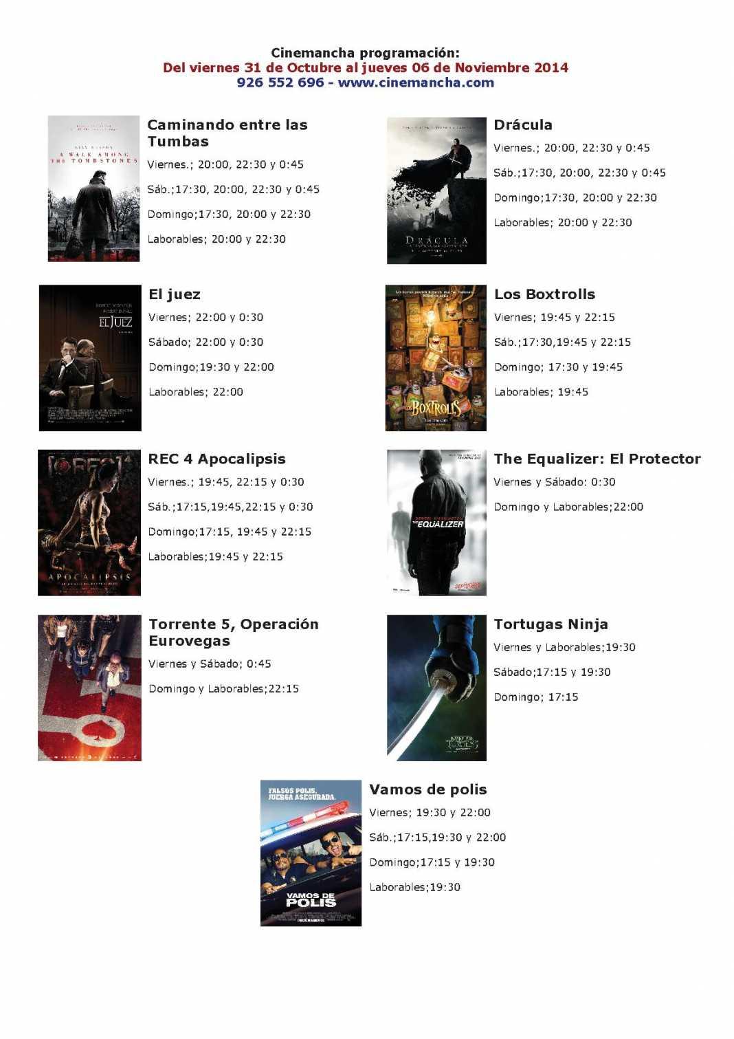 Cartelera Cinemancha del 31 de octubre al  06 de noviembre 1