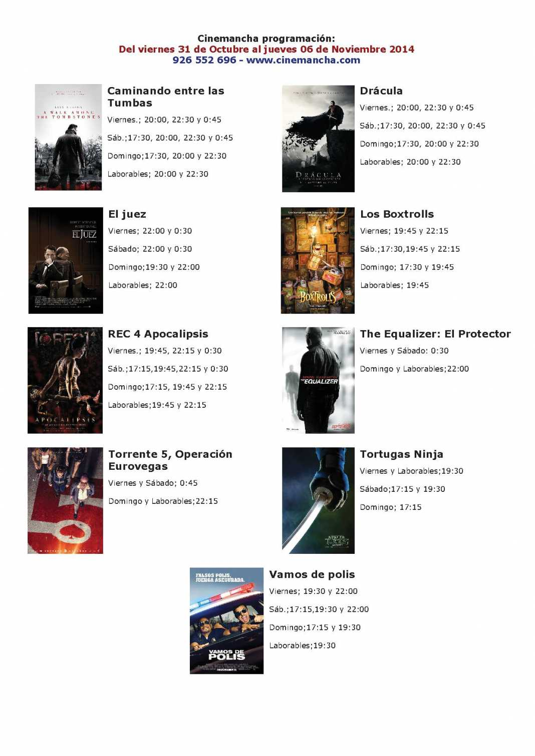 CARTELERA DE CINEMANCHA DEL 31 DE OCTUBRE AL 06 DE NOVIEMBRE 1068x1511 - Cartelera Cinemancha del 31 de octubre al  06 de noviembre