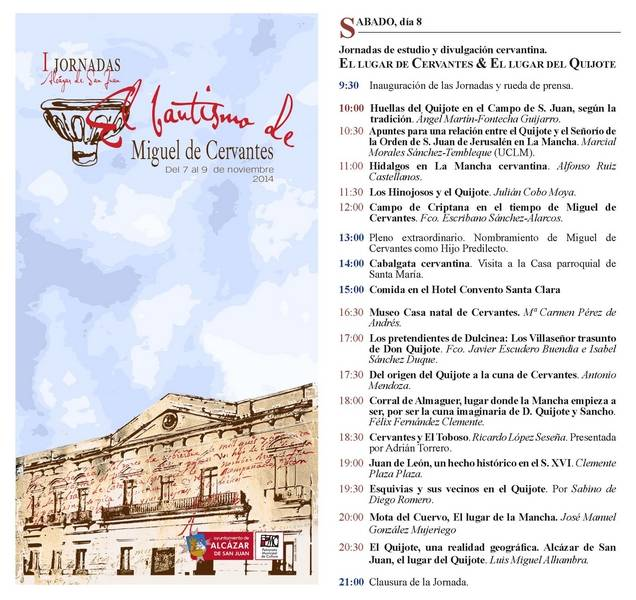 Jornadas Cervantinas de Alcázar - Ángel Martín-Fontecha participará en las jornadas cervantinas de Alcázar