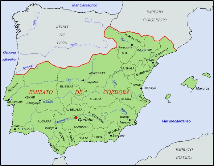 Mapa emirato de C%C3%B3rdoba - San Cristóbal, Villacentenos y otras confusiones históricas sobre la ubicación de Herencia.