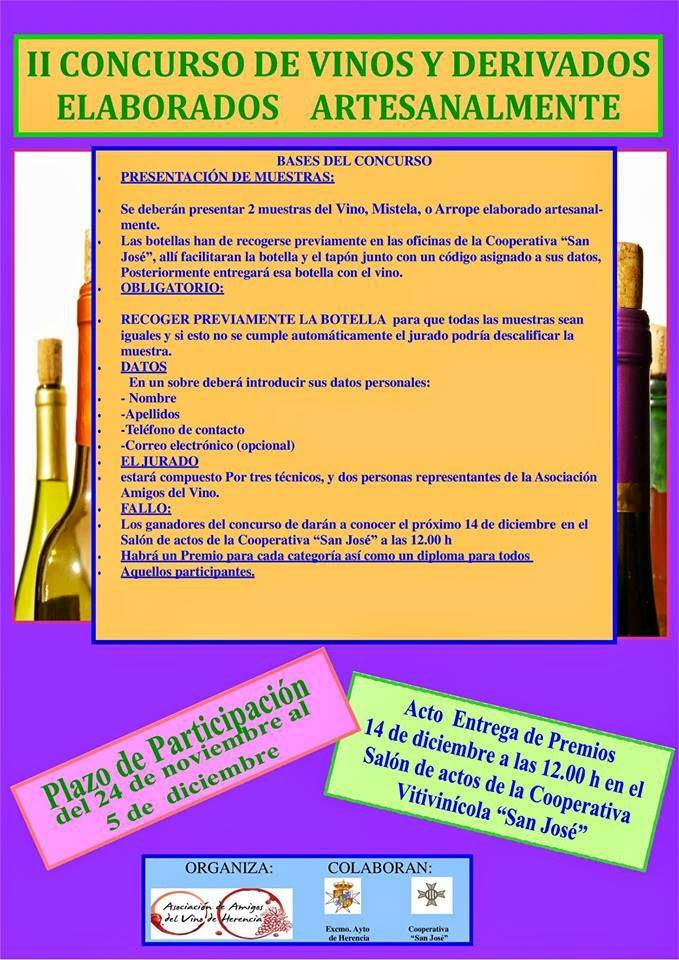 Segundo concurso de vinos y derivados elaborados artesanalmente de Herencia
