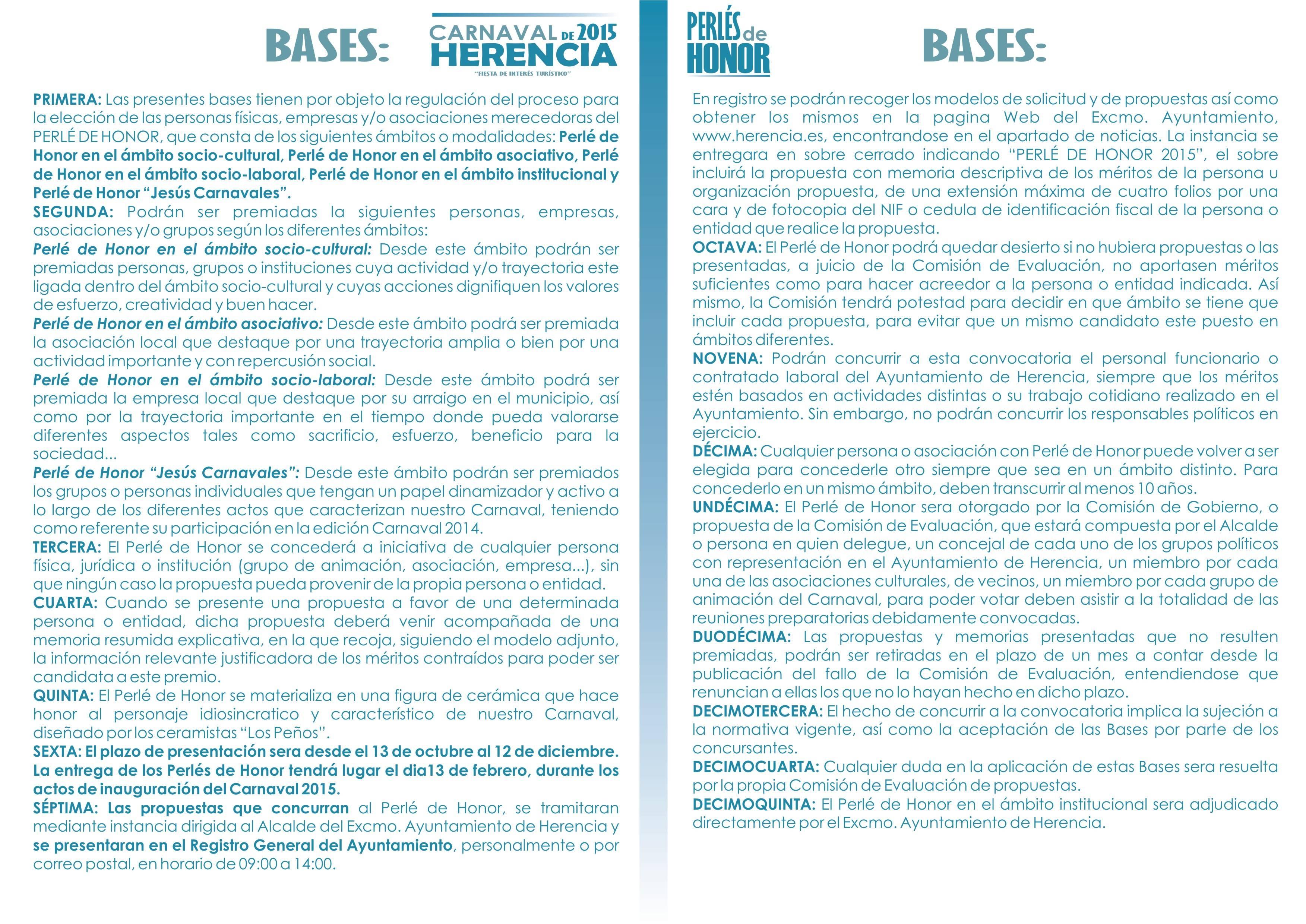 bases perles de honor carnaval de herencia 2015 - El Carnaval de Herencia busca propuestas para sus Perlés de Honor 2015
