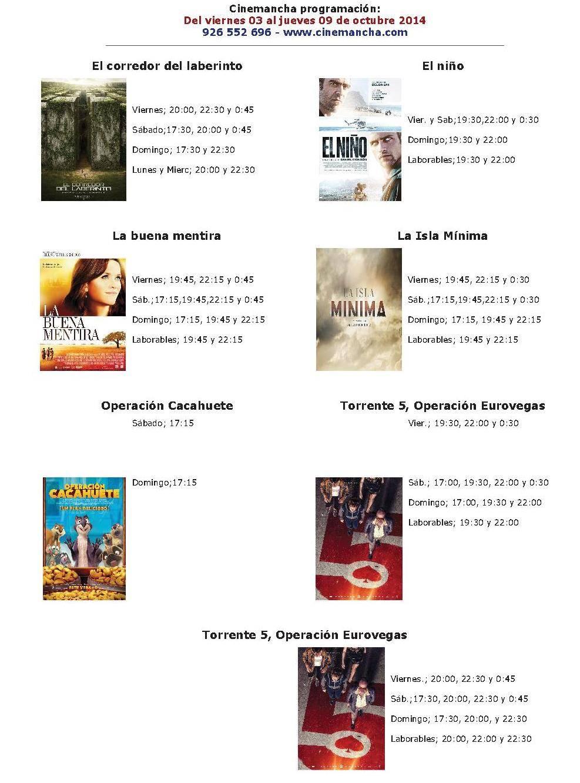 Cartelera Cinemancha del 03 al 09 de octubre 1