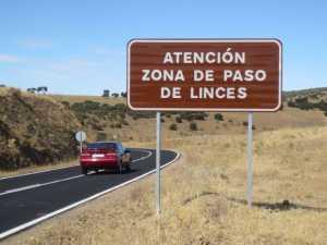 cartel de zona de paso de linces