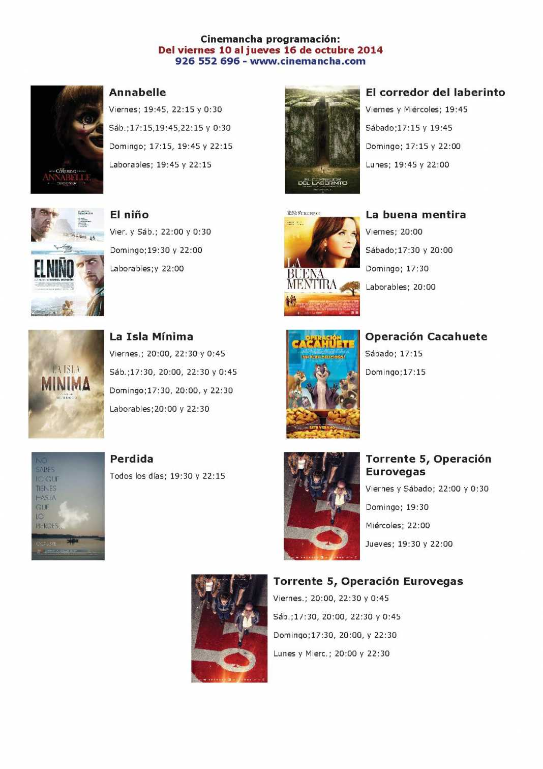 Cartelera Cinemancha del 10 al 16 de octubre 1