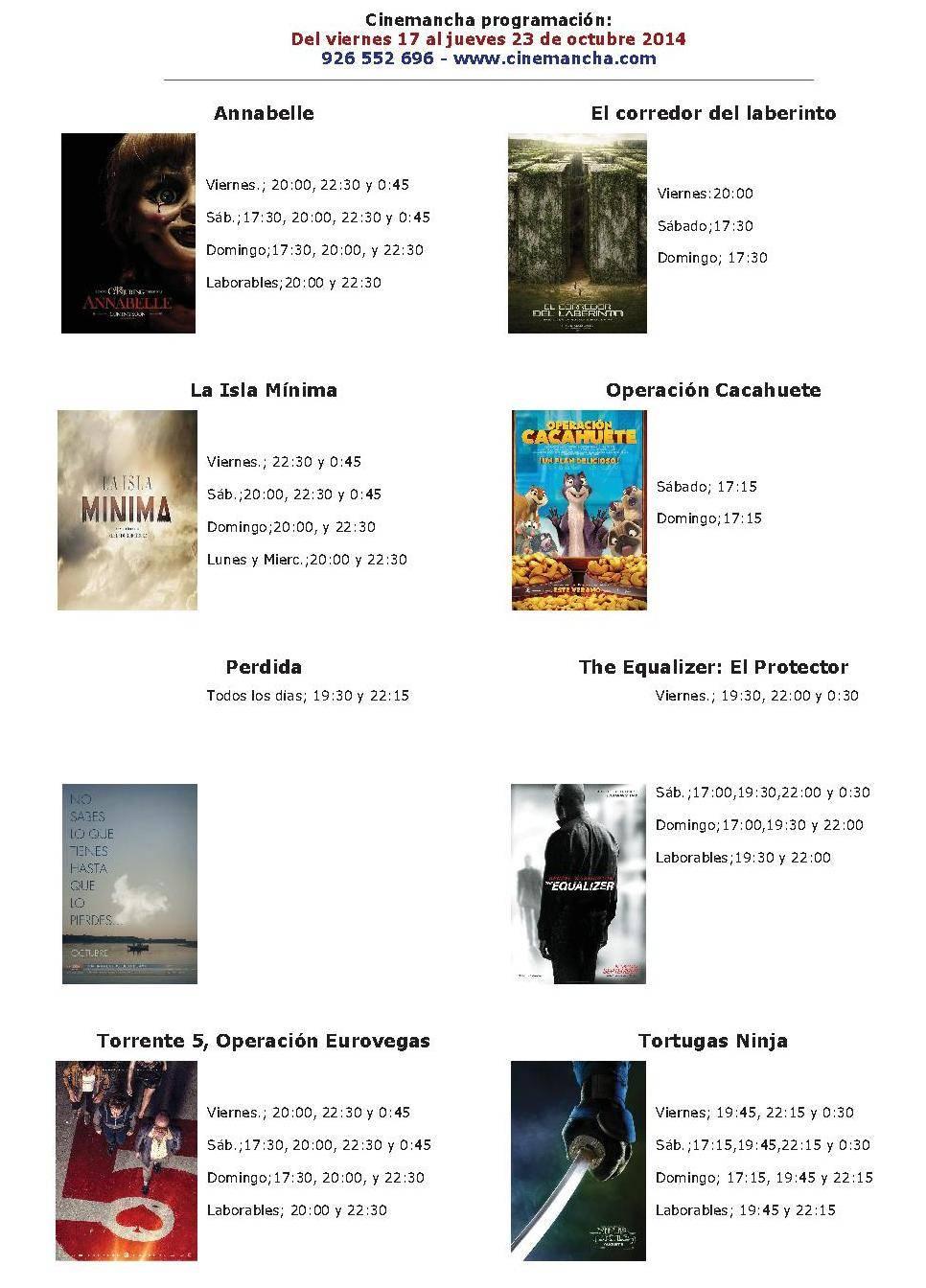 cartelera de cinemancha del 17 al 23 de octubre - Cinemancha programación: Del viernes 17 al jueves 23 de octubre 2014