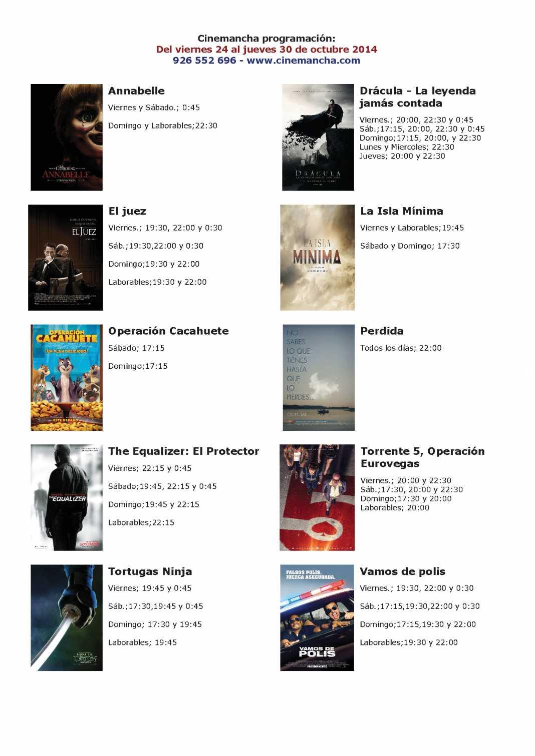 Programación Cinemancha cartelera del 24 al 30 de octubre 1