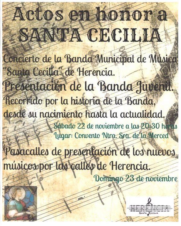 """Actos de la Agrupación Musical Santa Cecilia de Herencia 2014 - La agrupación musical """"Santa Cecilia"""" festeja a su patrona"""